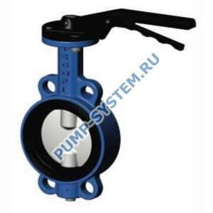 Затвор дисковый поворотный Tecofi, чугун, диск нерж. сталь, с редуктором, PN 16, DN 65